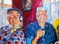 "Albert et George, deux habitués, au bistro ""Chez Brigitte"", olie op doek, 50x60."
