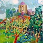 kerk-veere-met-gele-boom-90x90-olie-op-doek