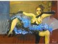 misses wijdbeens in blauwe petticoat, olie op doek, 100x120