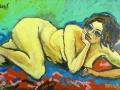 Iris met hand onder kin, olie op doek, 100x120