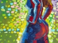 Gaby staand, in blauw en rood, op groen fond met stippen, 80x100, olie op paneel