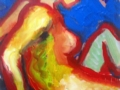 zittend naakt, geel met rode contour, 22x34, olie op paneel.