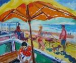 beach-end-onder-de-parasol-noordwijk-olie-op-doek-50x60