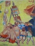 strandkinderen-geveild-op-schilderfestval-noordwijkolie-op-doek-50x60