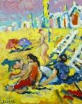 strandscene-noordwijk-olie-op-doek-50x60